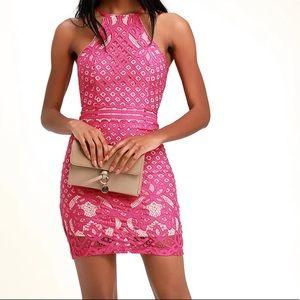 Lulus hot pink lace dress